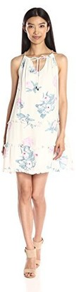MinkPink Women's Woratah Floral Print Drop Hem Ruffle Dress