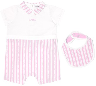 Emporio Armani Kids Baby striped cotton onesie and bib set