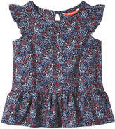 Joe Fresh Toddler Girls' Flower Print Blouse, JF Midnight Blue (Size 5)