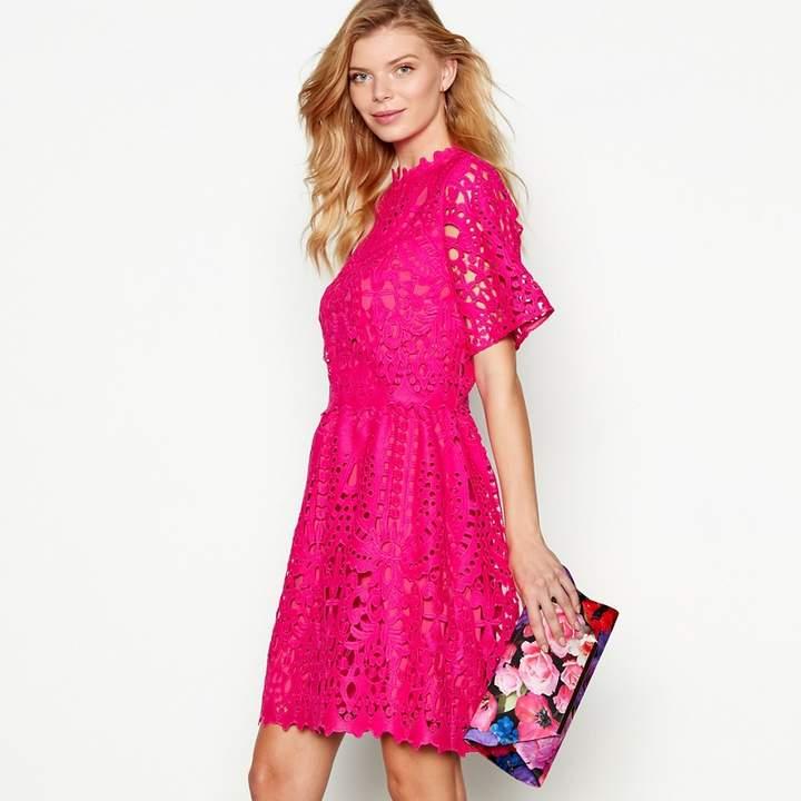 Debut - Bright Pink Lace 'Mina' Short Sleeve Shift Dress