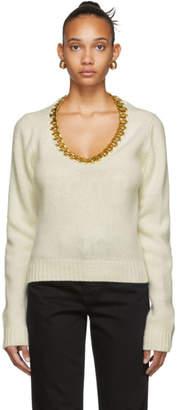 Bottega Veneta Off-White and Gold Chain Sweater