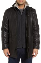Andrew Marc Men's Middlebury Leather Car Coat With Genuine Rabbit Fur Trim