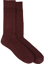 Barneys New York MEN'S CABLE-KNIT MID-CALF SOCKS-RED