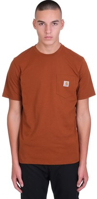 Carhartt S-s Pocket T-shirt In Brown Cotton