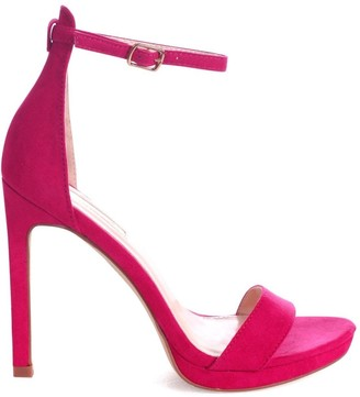 Linzi GABRIELLA - Fuchsia Suede Barely There Stiletto Heel With Slight Platform