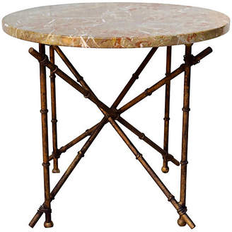 One Kings Lane Vintage Iron Bamboo-Style & Marble Top Table - Cannery Row Home