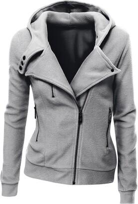Juicy Trendz Womens Hoodie Ladies Biker Jacket Fleece Top Sweatshirt Grey
