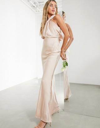 ASOS EDITION satin ruched halterneck maxi dress in blush