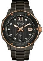 Bulova Marine Star Black Two-Tone Stainless Steel Diamond Hour Market Watch- 0.06TCW