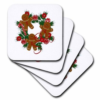 3drose 3dRose Gingerbread Men Christms Wreath, Soft Coasters, set of 8