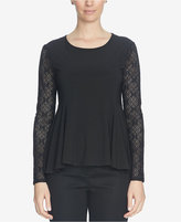 CeCe Lace-Sleeve Peplum Top