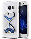 Urberry S7 Edge Running Glitter Cover, Creative Design Flowing Liquid Floating Luxury Bling Glitter Sparkle Hard Case for Samsung Galaxy S7 Edge with a Screen Protector (Blue)