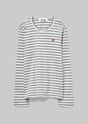Comme des Garcons Women's Long Sleeve Small Red Heart T-Shirt in White/Grey Stripe Size Large 100% Cotton