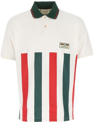 Gucci Striped Logo Jacquard Label Polo Shirt