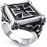 Konov Jewelry Mens Stainless Steel Ring, Gothic Claw Square Cross