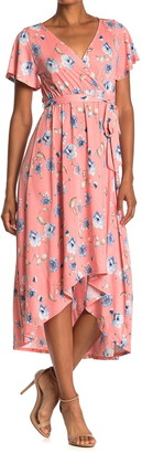 WEST KEI Floral High/Low Hem Midi Dress