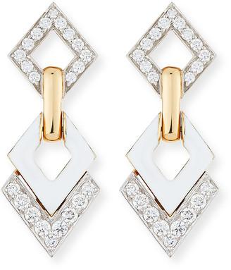 David Webb White Enamel & Diamond Interlocking Diamond Earrings