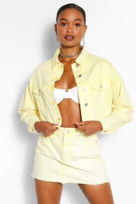 boohoo Acid Wash Cropped Denim Jacket