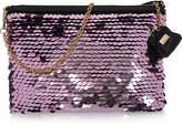 Metallic paillette-embellished clutch