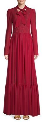 Giambattista Valli Embroidered Tieneck A-Line Gown