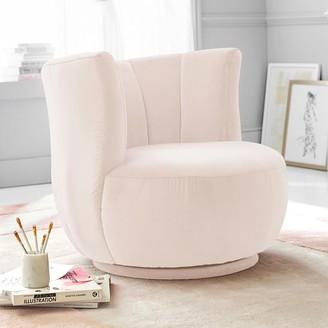 Pottery Barn Teen Monique Lhuillier Tulip Chair, Performance Everyday Velvet Pale Blush