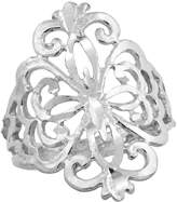Sabrina Silver Sterling Silver Floral Pattern Filigree Ring, 3/4 inch, size 7.5