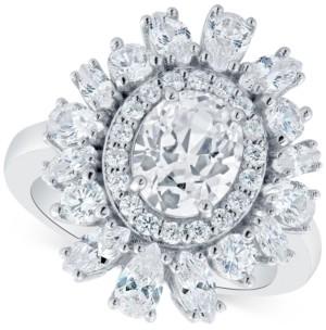 Arabella Swarovski Zirconia Oval Cluster Ring in Sterling Silver