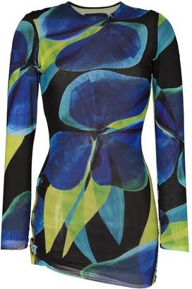 Louisa Ballou Floral-Print Split-Ring Mesh Dress