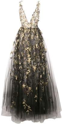 Oscar de la Renta floral embroidered sleeveless gown
