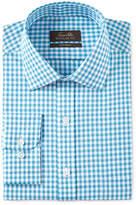 Tasso Elba Men's Classic/Regular Fit Non-Iron Aqua Herringbone Gingham Dress Shirt, Only at Macy's