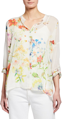 Johnny Was Plus Size Odessa Floral Print Blouse