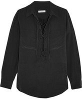 Equipment Knox Lace-up Washed-silk Shirt - Black