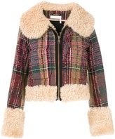 Chloé - shearling trim checked jacket