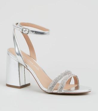 New Look Metallic Diamante Strap Block Heels