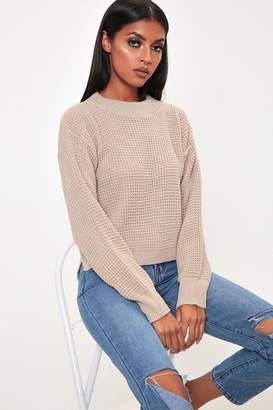 I SAW IT FIRST Stone High Neck Waffle Jumper