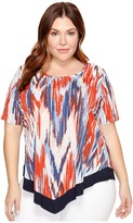 Karen Kane Plus - Plus Size Contrast Hem Top Women's Short Sleeve Pullover