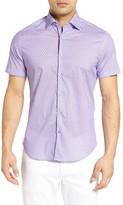 Stone Rose Men's Micro Geometric Jacquard Sport Shirt
