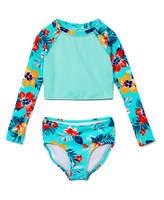 Kanu Surf Girls' Bikini Bottoms Ice - Ice Green Hibiscus Brooke Long-Sleeve Crop Rashguard Set - Toddler & Girls