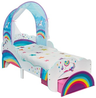 Worlds Apart Unicorn and Rainbow Toddler Bed with Canopy and Storage