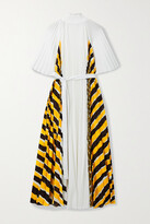 Thumbnail for your product : Proenza Schouler Belted Pleated Striped Crepe De Chine Midi Dress - White