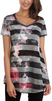 DJT Women's V-Neck Short Sleeve Stripe Pattern Loose Flared Tunic Top
