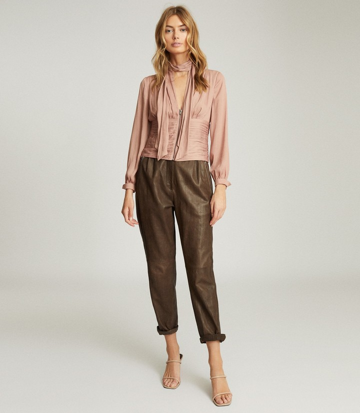 Reiss SKYE PUSSY BOW FITTED BLOUSE Pink