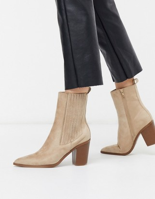 Pimkie faux suede western boots in beige