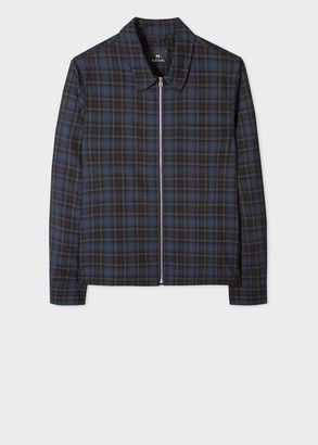 Paul Smith Men's Navy Check Wool Zip Jacket