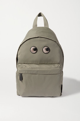 Anya Hindmarch Eyes Snake-effect Leather-trimmed Shell Backpack - Green