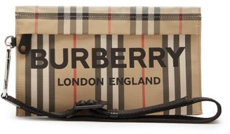 Burberry Logo-print Icon-stripe Canvas Makeup Bag - Multi