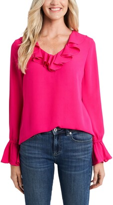 CeCe Ruffle Detail V-Neck Blouse
