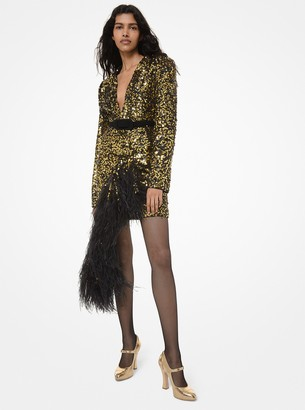 Michael Kors Sequined and Feather-Embroidered Asymmetric Dress