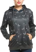 Meaneor Women's Long Sleeve Striped Hoodie Side Zipper Hooded Sweatshirt Pullover L