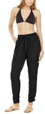 DKNY Smocked-Waist Swim Cover-Up Pants Women's Swimsuit